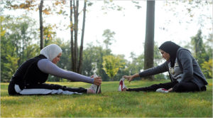 Muslim women exercising