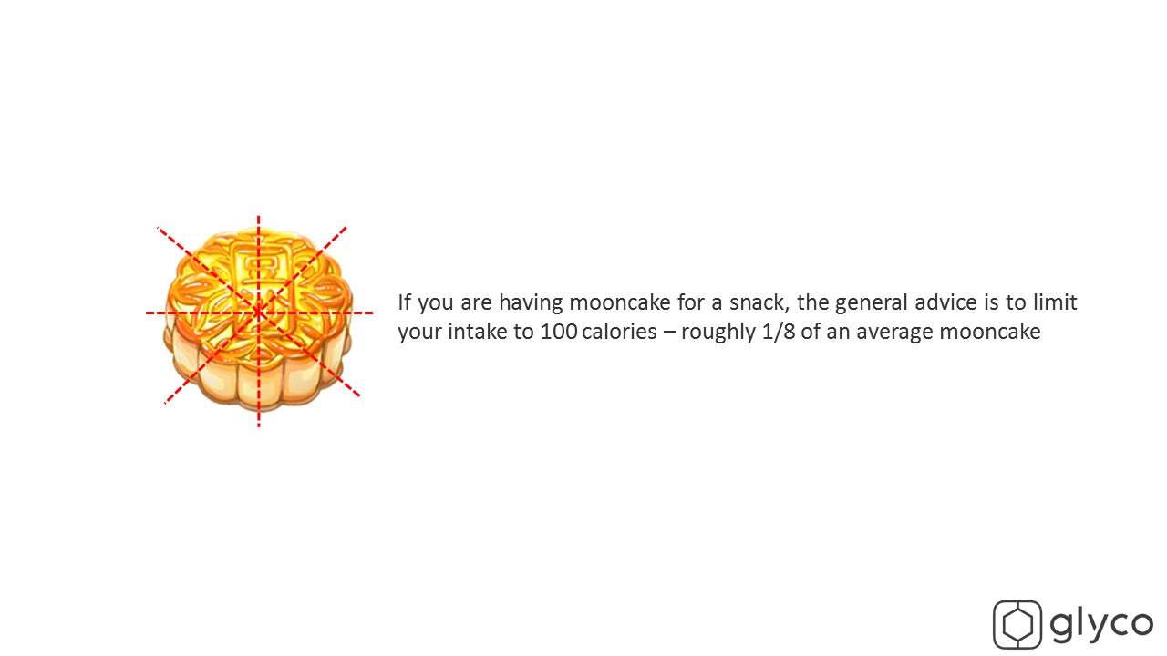 limit your intake to 1/8 of a mooncake for a snack