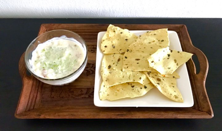 Cucumber Raita and Pappadums