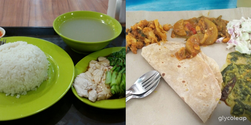 Left to right: Chappati (with vegetable sides), Steamed Chicken Rice (with plain rice, chicken skin removed, added bok choy)