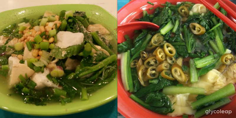 Left to right: Wanton Mee Soup (with added chye sim), Yong Tau Foo Beehoon Soup (without fried items + 3-4 vegetables)