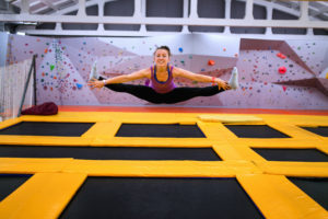 indoor trampoline park exercising in rainy weather